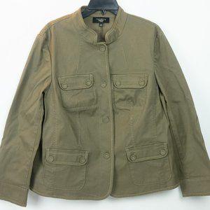 Talbots Brown Khaki Safari Style Jacket 14W